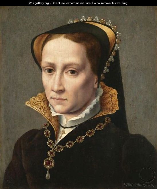 English: Portrait Of Mary Tudor (1516-1558) oil on Canvas. Source http://www.wikigallery.org/  Author (after) Antonio Mor. An odd portrait, somewhat over-emotional, and not contemporaneous. Most certainly a much later copy, with a religious agenda.