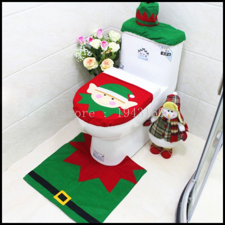 3pcs Lot Christmas Decoration 2016 For Home Santa Toilet Seat Cover Rug Bathroom Se