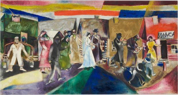 """Marc Chagall: """"Die Hochzeit (La noce)"""", 1911, Öl auf Leinen, 99.5 x 188.5 cm"""