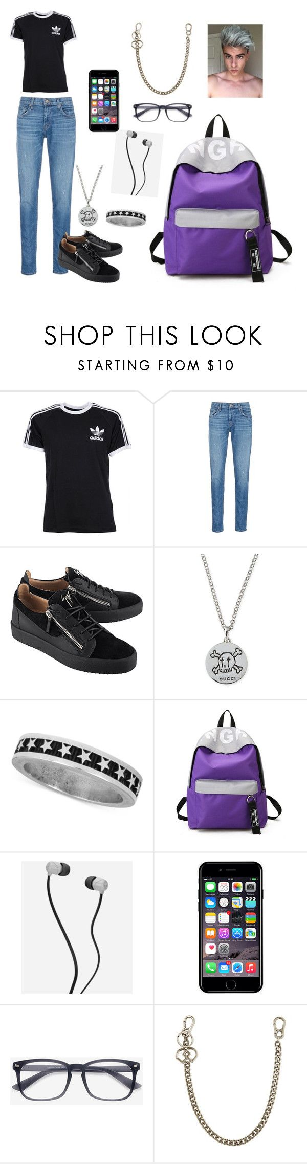 """""""Odision"""" by andri-symeou ❤ liked on Polyvore featuring adidas, J Brand, Giuseppe Zanotti, Gucci, King Baby Studio, Skullcandy, Off-White, EyeBuyDirect.com, Dsquared2 and men's fashion"""