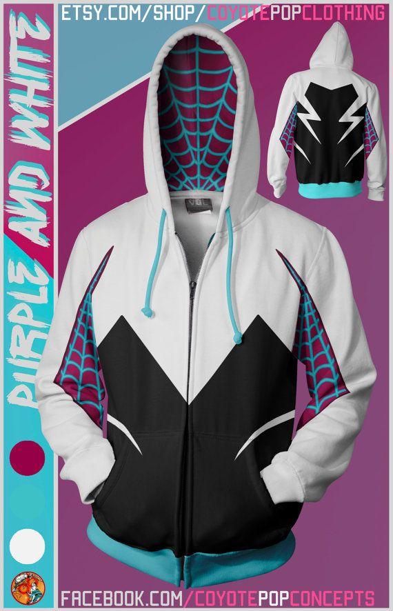 Superhero Hoodies Purple and White SpiderGwen
