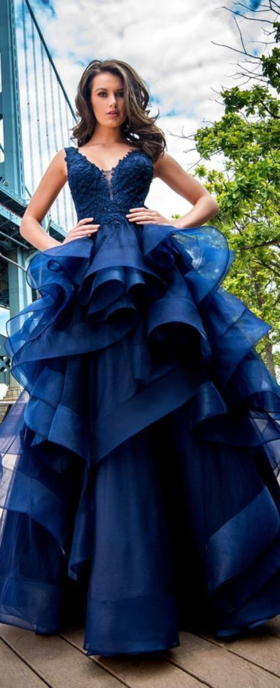 2017 Custom Made Royal Blue Ball Gown,Layered Prom Dress,Lace Appliques Party Dress