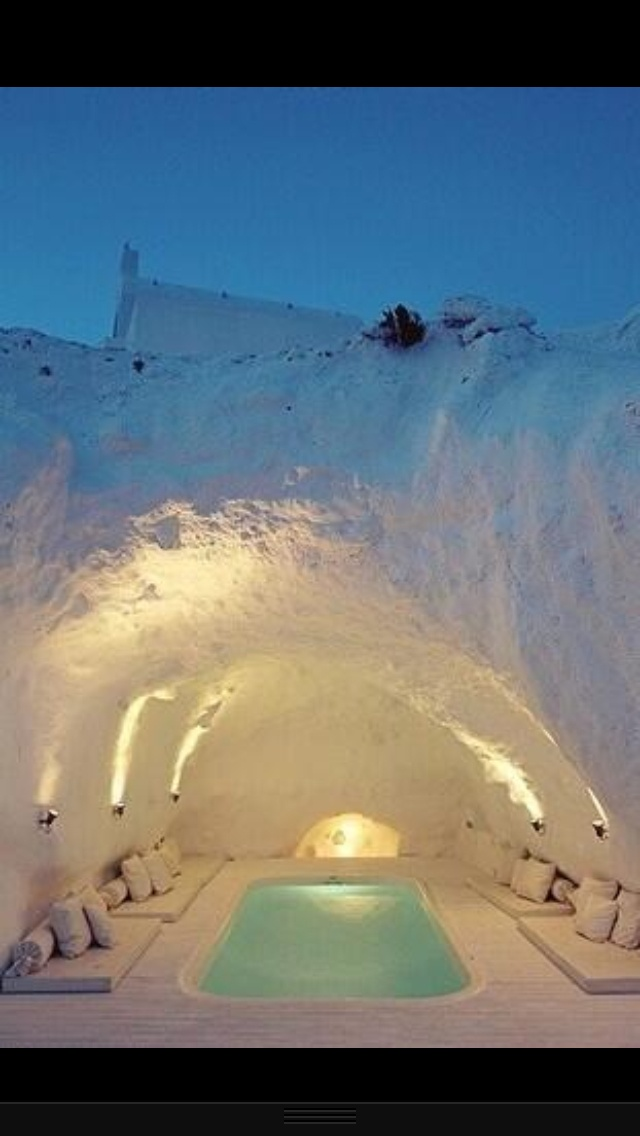 Cave Hot Tub in Santorini, Greece