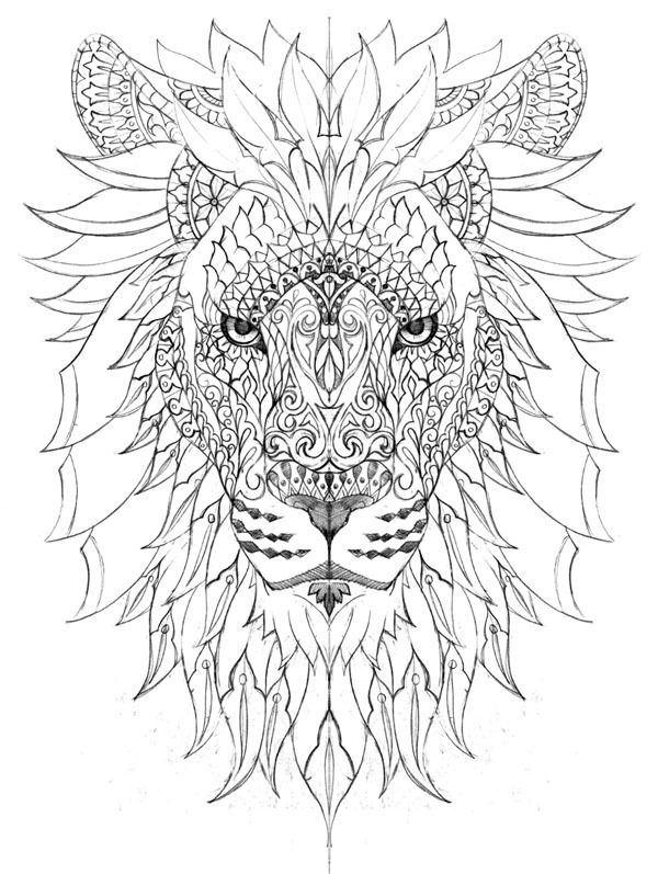 lion mandala coloring pages raja of the jungle on behance tattoo 39 s piercing 39 s