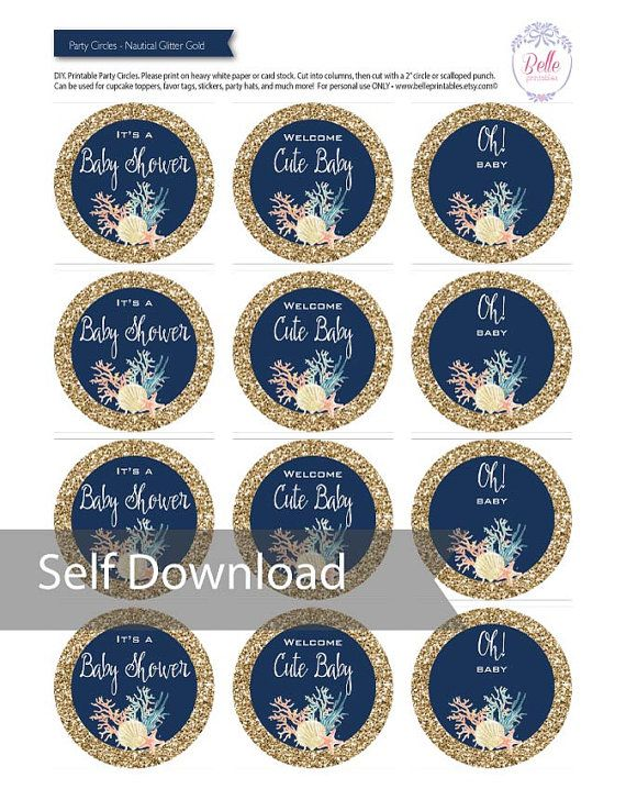 Cupcake Toppers Baby Shower Glam Glitter In By