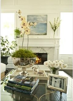 South Shore Decorating Blog: Lots of Love Monday - 30 Beautiful Rooms I Love and Adore.....Love the moss in the punch bowl!