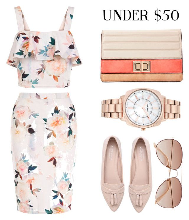 """#001:under $50"" by selenawil ❤ liked on Polyvore featuring New Look, Melie Bianco, Carvela, H&M, Nine West, under50, polyvorecontest, PVStyleInsiderContest and skirtunder50"