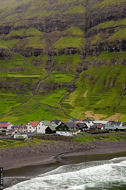 Tjornuvík, Northern Streymoy, Faroe Islands. The Faroe Islands are an island group and archipelago under the sovereignty of the Kingdom of Denmark, situated between the Norwegian Sea and the North Atlantic Ocean, approximately halfway between Norway and Iceland.
