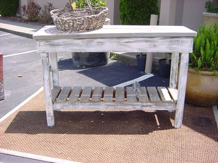Furniture Rustic Outdoor Teak Console Table Made From Reclaimed Wood With Storage And Painted