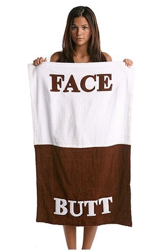 Finally, a towel that makes sense!Face Towels, Laugh, Stuff, Face Butt, Gift Ideas, Funny, Things, Products, Butt Face