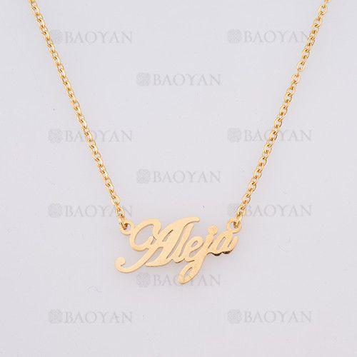 collar con nombre Aleja en acero dorado inoxidable - SSNEG384243