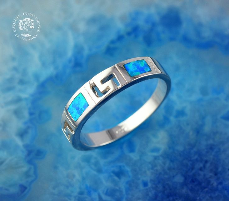 greek key opal silver ring, opal ring, greek ring, blue opal, greek jewelry, greek key ring, blue opal ring, opal, silver ring, meander by GreekGoddessJewelry on Etsy