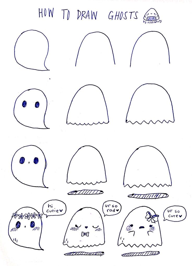 How to draw some simple cute ghosts for Halloween | Art ...