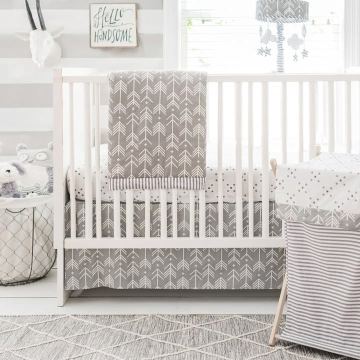 Love this classy grey and white nursery crib set. looks ike a baby farmhouse #afflink