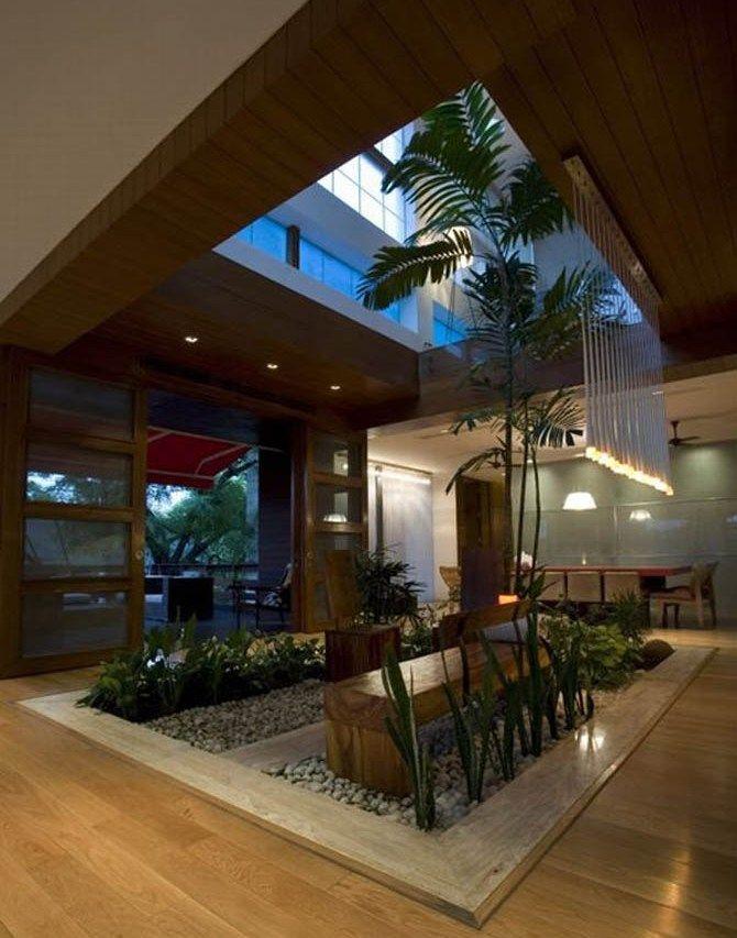 Interior Atrium Garden. Looks beautiful. I want a palm inside our house.