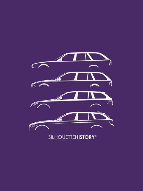 Bavarian Funfer Wagon SilhouetteHistory Silhouettes of BMW 5 Series Touring (E34, E39, E61, F11) FB, Instagram, Twitter