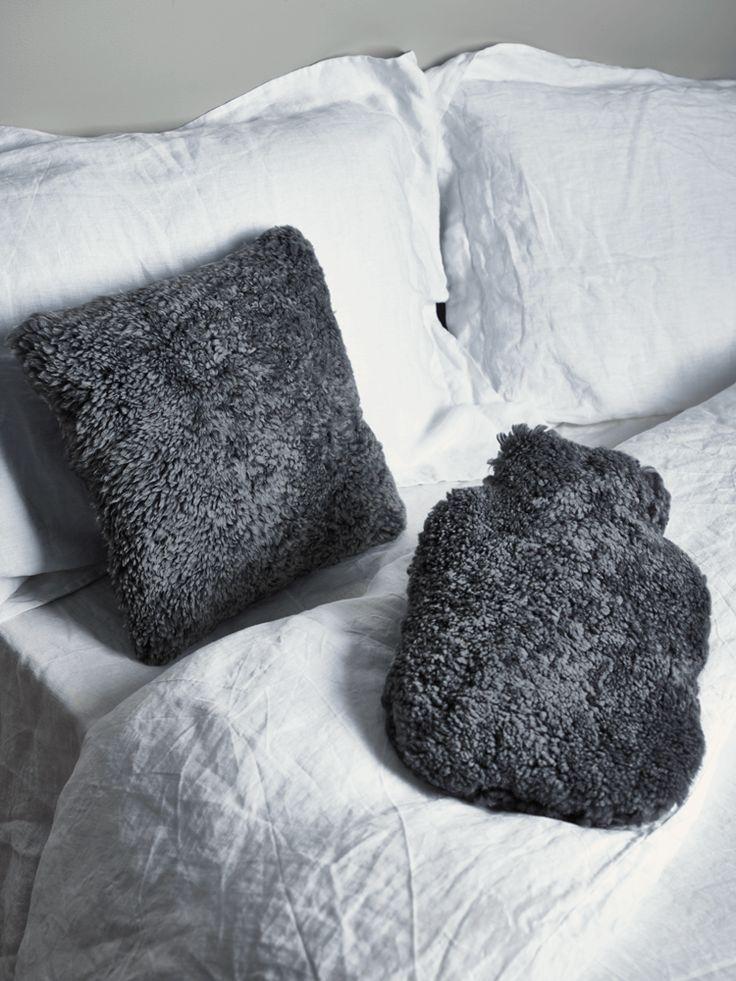Luxe Grey Curly Sheepskin Cushion Cushions Textiles
