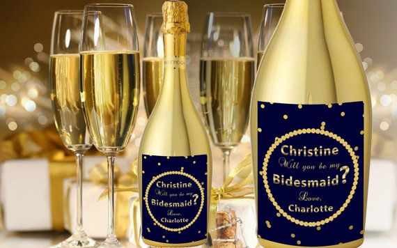 Check out this item in my Etsy shop https://www.etsy.com/listing/275124514/champagne-labels-for-bridesmaids-will