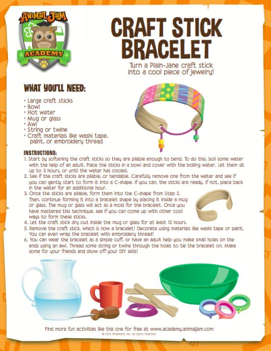 DIY Jewelry! Learn how to make your own bracelets out of craft sticks with this fun download from Animal Jam Academy! Have fun and PLAY WILD!