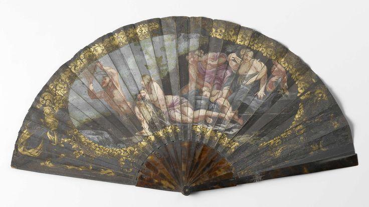 Vouwwaaier met leren blad, waarop met gouache Pan en de Naiaden is geschilderd, op een schildpad montuur, 1650 - 1699, Rijksmuseum | Fan with leather blade, 1650 - 1699, Rijksmuseum