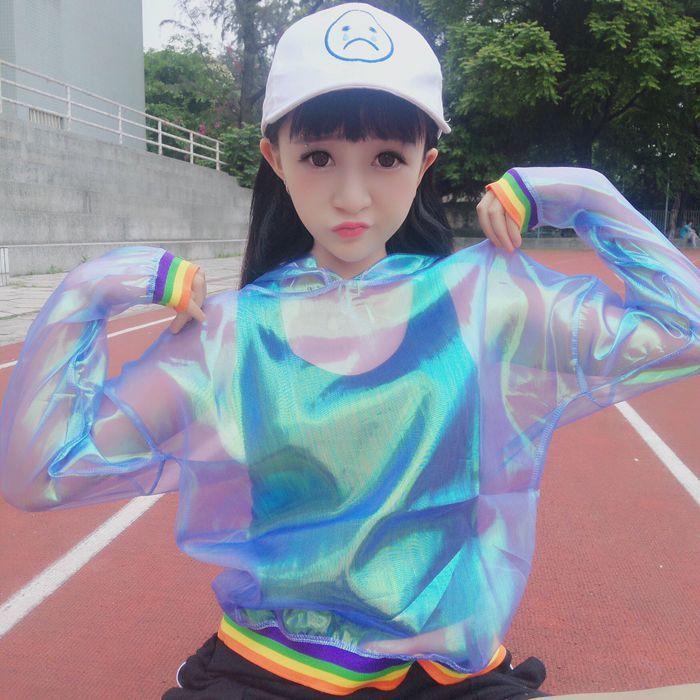 Rainbow harajuku transparent hooded jacket