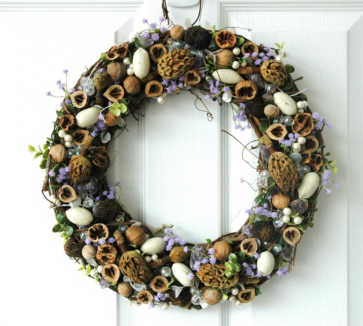 Spring Amethyst Wreath Nuts and Gemstone Sparkly by Hickowreaths, $50.00 #handmadeC #HMCApril #bestofetsy #boebot