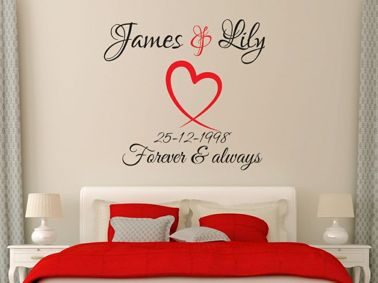 Two Colour Heart And Anniversary Date Design With Names. All Our Wall  Stickers/decals