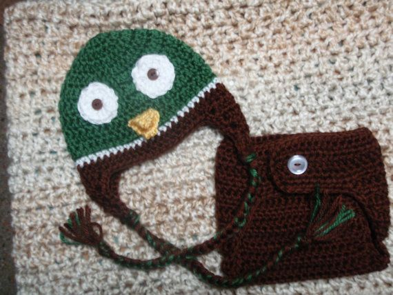Crocheted  Baby Mallard Duck Earflap Hat by NanasKnottyCreations, $25.99. Cant wait for Colt to get his pics taken in this.
