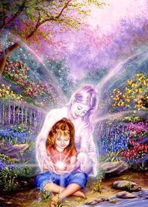 "Guardian angel showing little girl ""the Light"""
