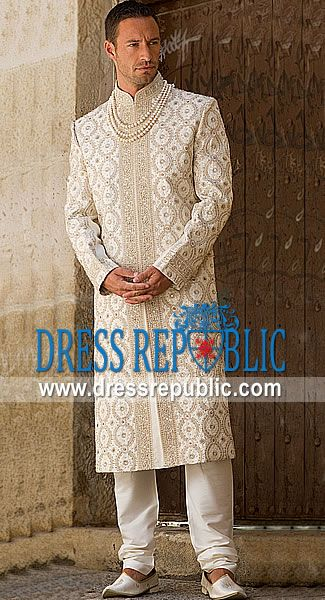 Style DRM1258 - DRM1258, Sherwani for Men in Toronto, Cream Sherwani Buy Online in Canada by www.dressrepublic.com