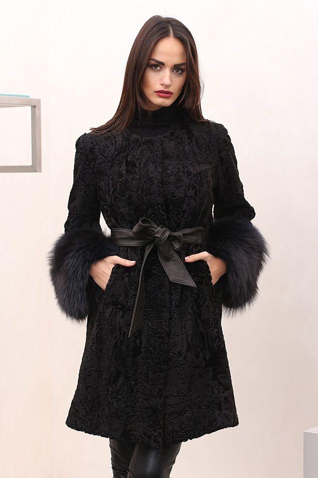 Swakara fur with Fox, whole skins. Made in Italy. Skins Quality: First quality – Saga Royal Furs; Color: Black; Closure: With hooks; Collar: Plat; Lining: 100% Satin; Lining Color: Fantasy, Multicolor; Length: 88 cm; #elsafur #fur #furs #furcoat #coat #mink #minkcoat #cappotto #peliccia #pellicce #НОРКА #ЛИСА #СОБОЛЬ #ШИНШИЛЛА #РЫСЬ #КОЖА #ПИТОНА #АКСЕССУАРЫ #ДРУГОЕ