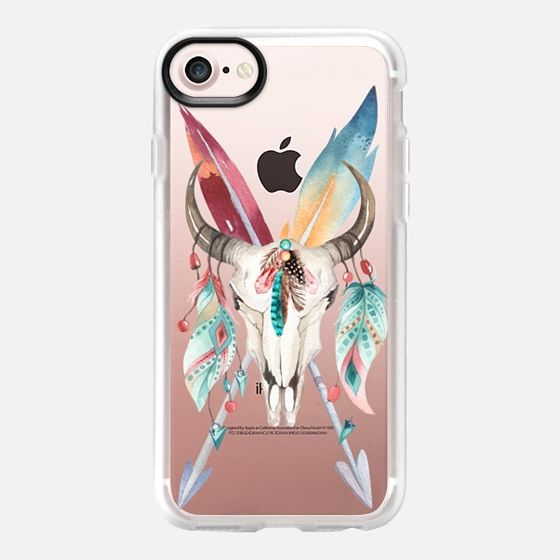 WATERCOLOR BOHO BULL SKULL FEATHERS AND ARROWS - Classic Grip Case