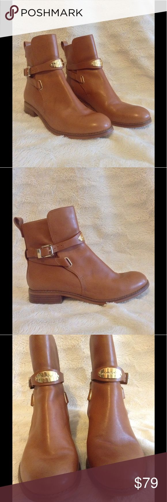 Michael Kors ankle boots size 7.5 These brown leather boots are in great condition and feature gold accents. Great with jeans/leggings and for the up coming weather! Michael Kors Shoes Ankle Boots & Booties