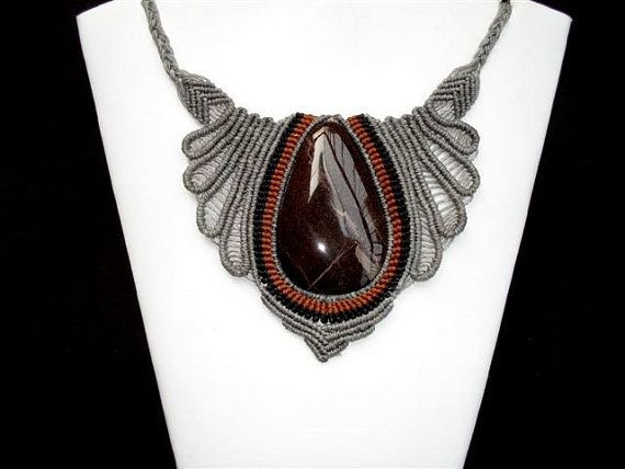 Camille Macrame Necklace with a semiprecious stone