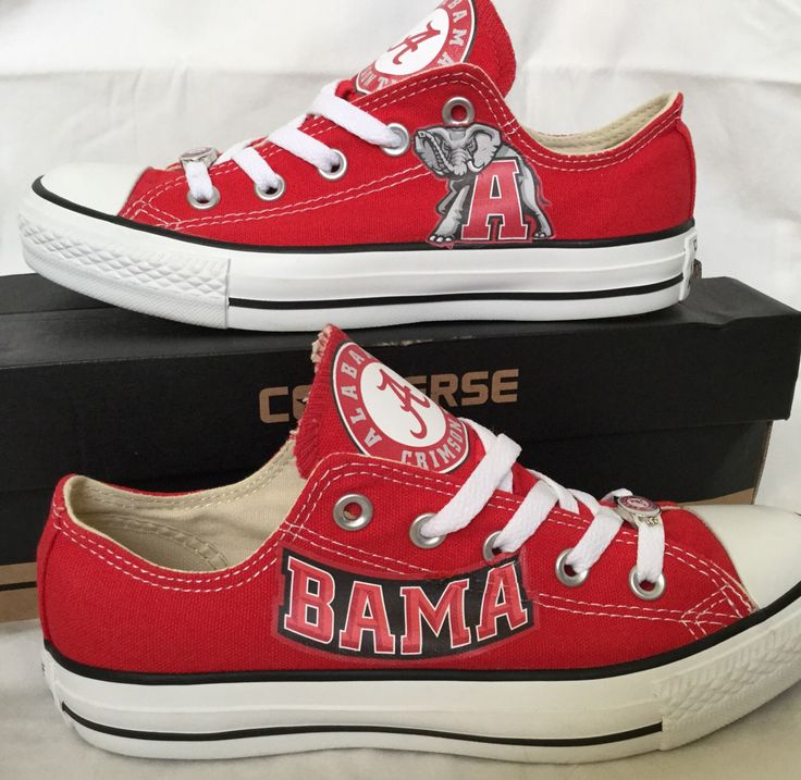 Custom Made University of Alabama Crimson Tide Bama Sneakers Shoes by PimpMyKickz on Etsy https://www.etsy.com/listing/252591151/custom-made-university-of-Alabama