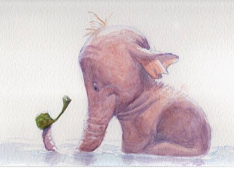 #ctnexpo Booth B12 Davids Doodle the Art of David Colman. Come by and say hello. Prints of this illustration and many others will be available this coming weekend. See you there #elephant #watercolor #illustration #animalart #davidsdoodles