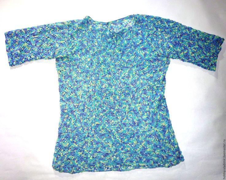 Купить Мужская рубашка поло - комбинированный, в клеточку, рубашка, поло, летняя одежда, акрил, пряжа
