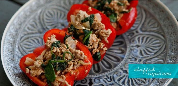 Clean Eating Stuffed Capsicum Recipe Move Nourish Believe.  Healthy and Yummy?! Yay