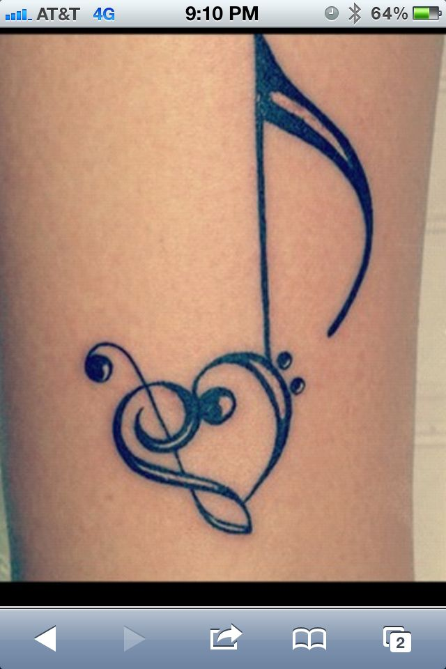 Music tattoo. This is really cute.