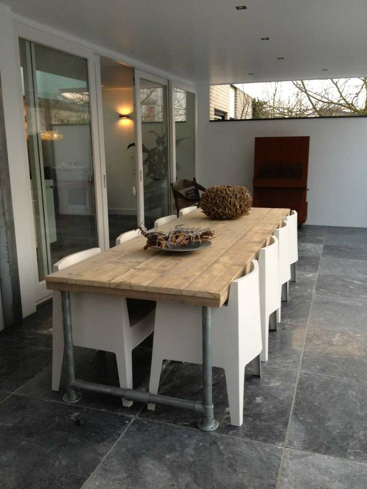 Steigerhout Furniture - Steigerbuizen tafel Tarvold. Exclusieve steigerbuis tafels op maat gemaakt. - Steigerhout Furniture   Unieke steigerhouten meubelen & tuinmeubelen op maat gemaakt!