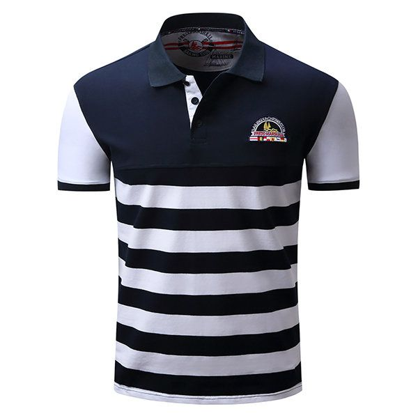 Mens Striped Pattern Polo Shirts Short Sleeve Spring Summer Casual Business Tops