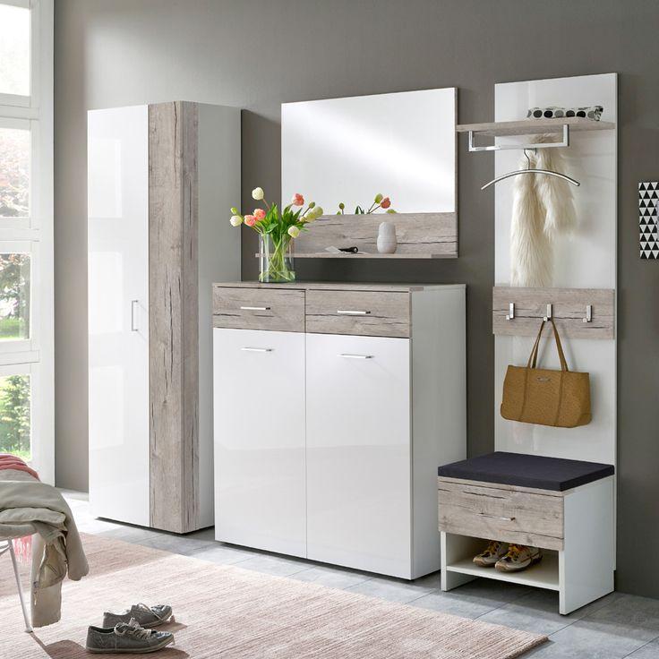 e-combuy Angebote Garderoben Set 5 tlg. SANGA115 Sandeiche Dekor, Weiß Hochglanz lackiert: Category: Garderoben-Sets Item…%#Quickberater%