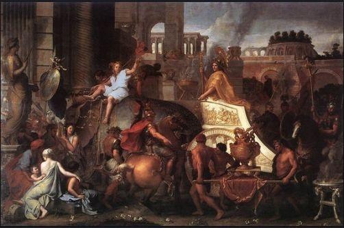 알렉산더 대왕의 바빌로니아 입성 - 샤를 르 브륑 作(17세기 경) 알렉산더 대왕(BC356-BC323)은 유럽, 아시아, 아프리카에 걸친 대제국을 건설한 마케도니아의 맹주이다. 이 작품은 기품을 보여주는 차분한 구도와 안정적감 있는 색, 정교한 디테일을 통해 알렉산더 대왕의 승리를 장엄하게 보여주고 있다. 여기서 알렉산더 대왕은 화려한 금색 복장으로 치장하고 내려다 보는 시선을 취하고 있어 전형적인 정복 군주의 위엄을 드러내고 있다.