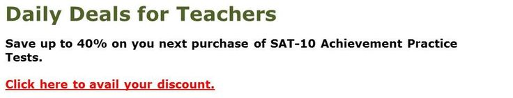 Daily deals for Teachers: Save up to 40% on your next purchase of Stanford-10 (SAT) practice tests for kindergarten, first grade, and second grade. Click here to avail your discount. http://misterdeeonline.blogspot.com/p/deal-of-day.html