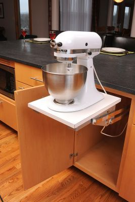under cabinet mixer storage that can be hidden when not in use: Kitchenaid Mixer, Decor Ideas, Cabinets Features, Cabinets Interiors, Kitchens Ideas, Maple Kitchens, Kitchens Cabinets, Mullets Cabinets, Contemporary Maple