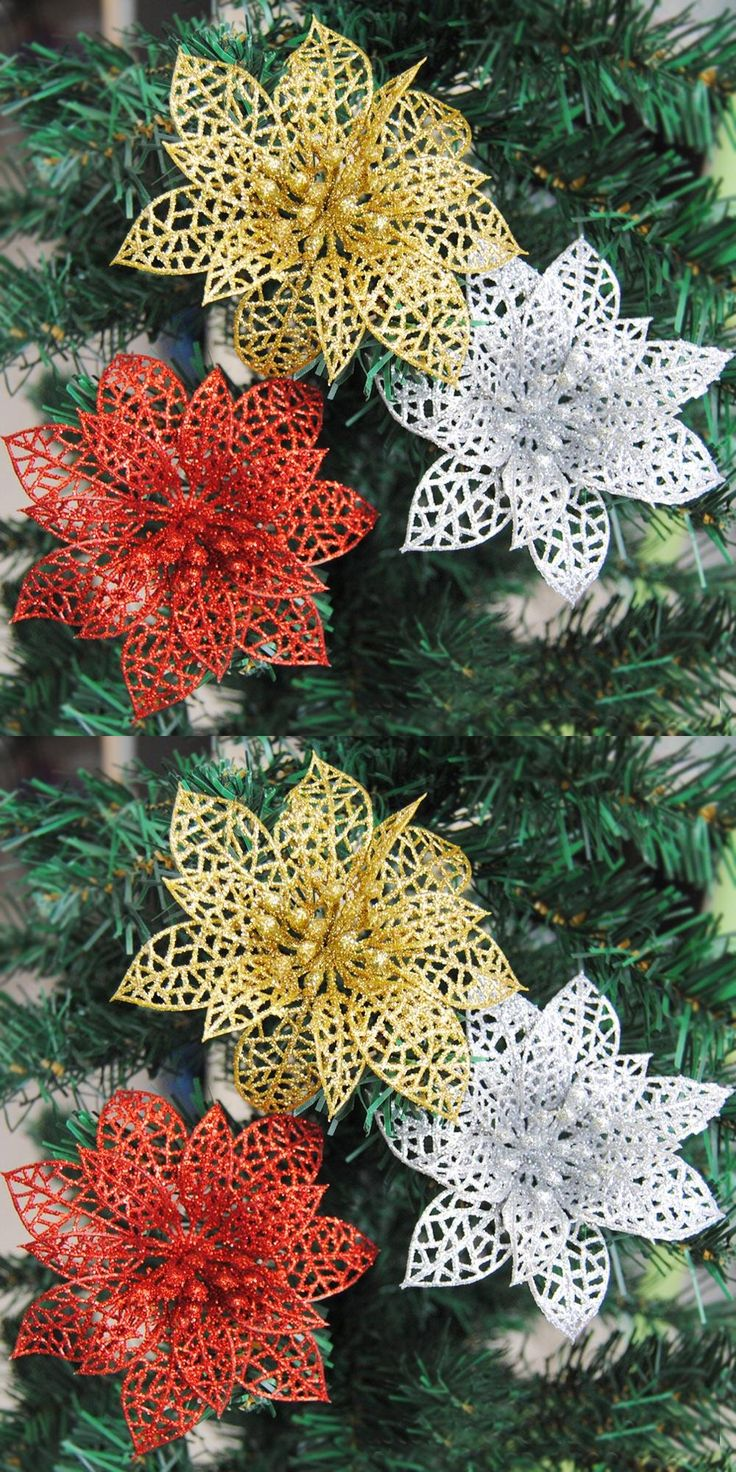 Fibre optic christmas flowers and xmas flowers -  Visit To Buy 10pcs Colourful Glitter Artificial Hollow Flowers Wedding Party Christmas Xmas Tree