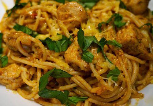 Home food: Паста с индейкой и соусом энчилада / Spaghetti with turkey and sauce enchilada