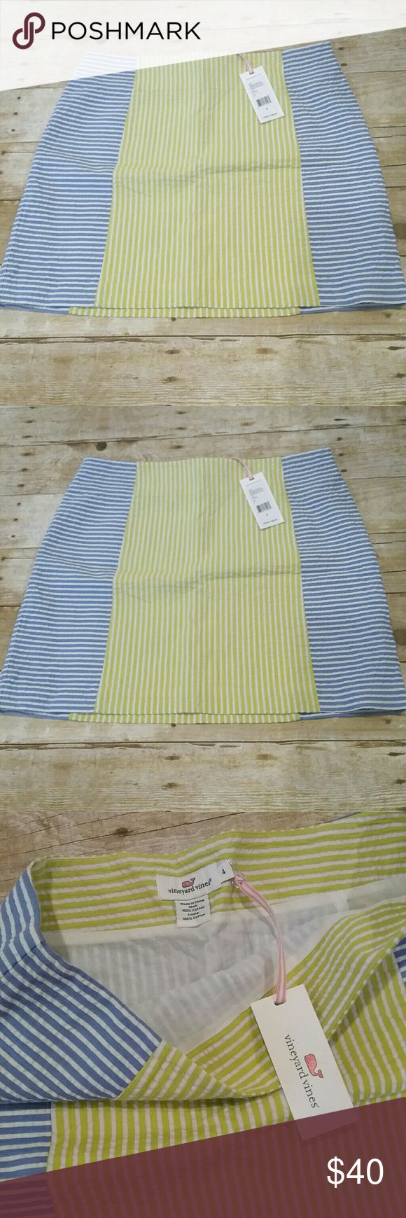 VINEYARD VINES SEERSUCKER SKIRT NWT very cute yellow and blue seersucker skirt - FLAT LAY MEASUREMENT 16 inch waist - 16 inches in length - side zipper - it is yellow and blue...camera not picking up the true yellow color Skirts