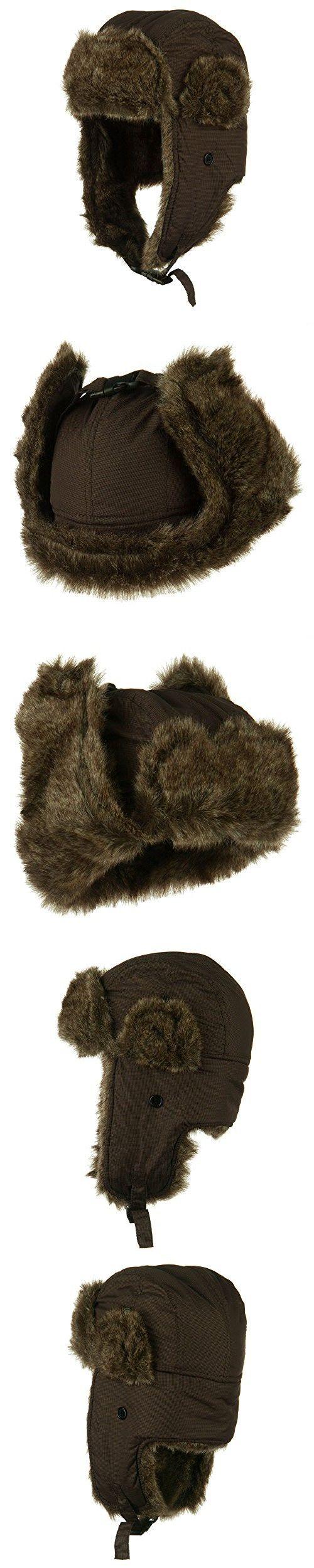 Boy's Ripstop Faux Fur Trooper Hat - Brown OSFM