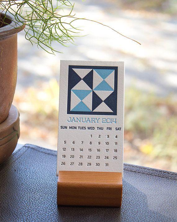 2014 Quilt Block Letterpress Calendar